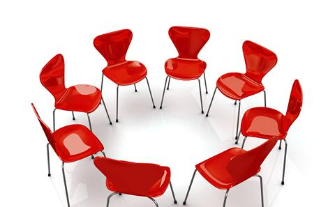 red chairs at a conference