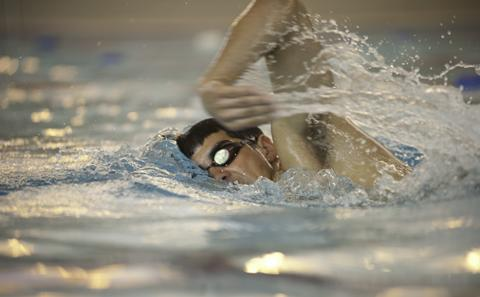 Swimmer in the University pool