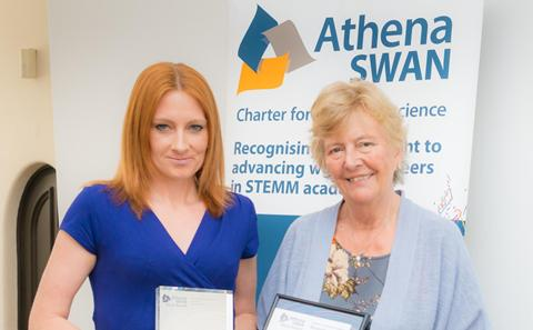 Lynda Brown collects the Silver Athena SWAN award for Chemistry, April 2015