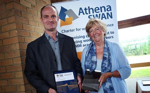 Alan Marchant collects the Bronze Athena SWAN award for CfBS, April 2014