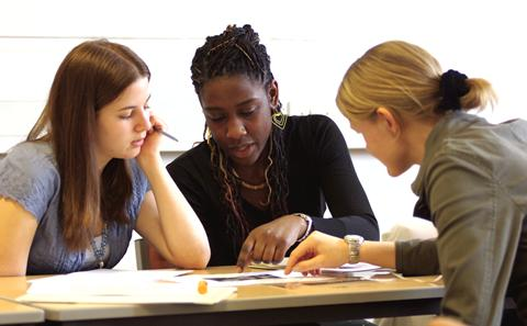 Students in a discussion group