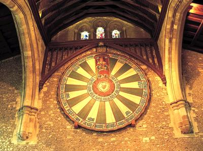 Winchester's Great Hall is home to a medieval round table, said by legend to have belonged to King Arthur