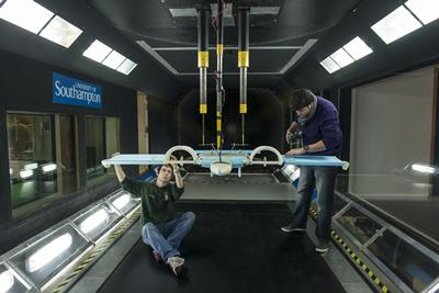 UAV student project testing in the RJ Mitchell Wind Tunnel