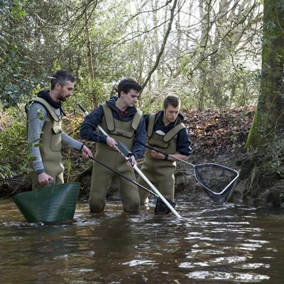 Fourth-year students doing electric fishing training in the New Forest