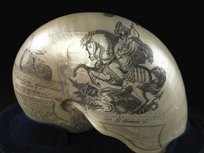 Commemorative shell depicting St George.