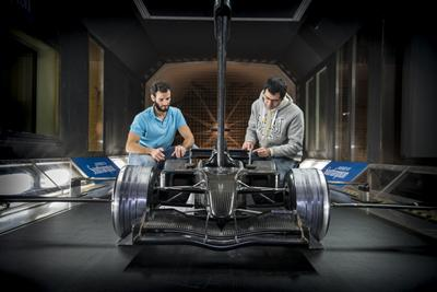 Testing a race car in the RJ Mitchell Wind Tunnel