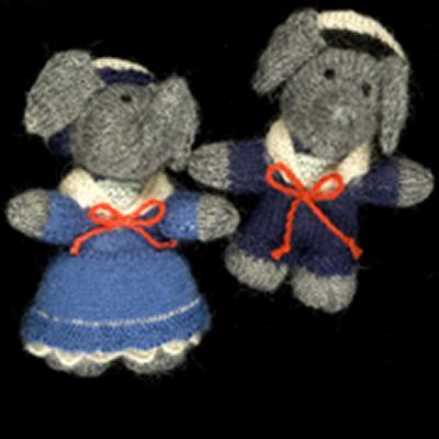 Knitted toy elephants Arthur and Flora, from the Barbar stories, are part of the exhibition