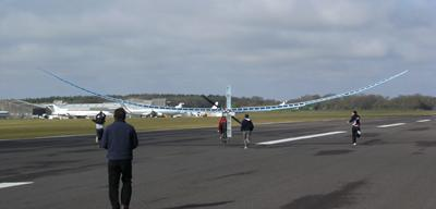 Our student-built aircraft makes its first test run in 2012 (I am pedalling)