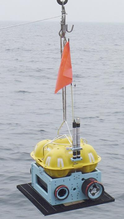 Ocean bottom seismometer from the UK pool about to be deployed