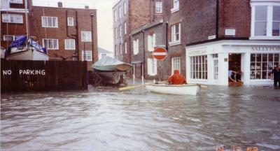 The streets of Old Portsmouth flooding during the storms of 14-18 December 1989 (Credit: Portsmouth City Council / East Solent Coastal Partnership)
