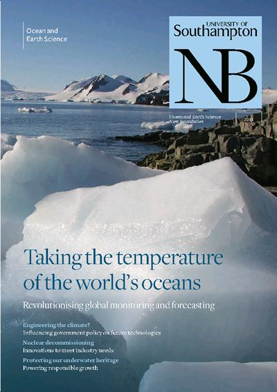 Taking the temperature of the world's oceans. Ocean and Earth Science New Boundaries research magazine, 2013