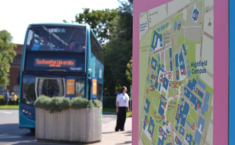 A campus map at the University's Bus Interchange
