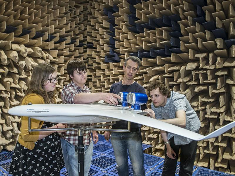 Acoustical Engineering students testing their design in the anechoic chamber