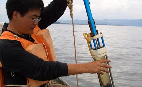Sediment coring in Lake Erhai