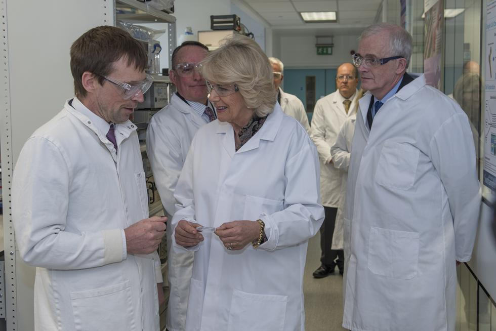 The Duchess of Cornwall talks with Professor Hywel Morgan