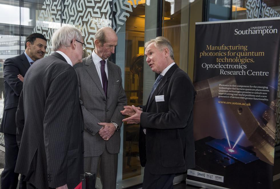 Professor Sir David Payne welcomed HRH to the University's Clean Room Complex
