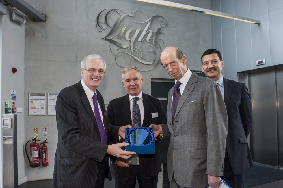 HRH received an etched wafer following his visit to the Zepler Institute from Professor Sir David Payne and joined by Professor Sir Christopher Snowden (left) and Professor Bashir Al-Hashimi (right)
