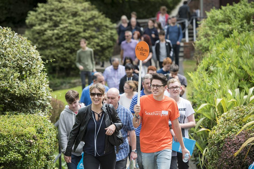 Open Day visitors on a campus tour around Highfield with a student ambassador