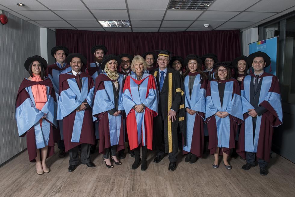 The Duchess of Cornwall with fellow PhD graduates