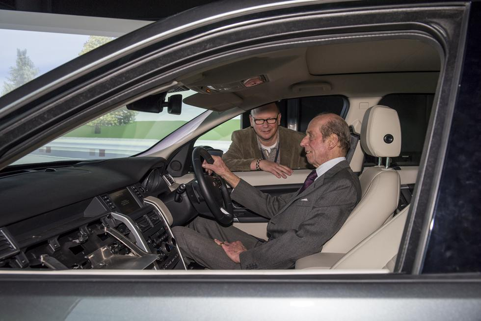 HRH The Duke of Kent experiences the University's driving simulator under the supervision of Professor Neville Stanton