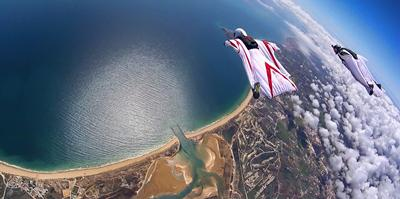 Fig 9 Dr Grubisic is an experienced wingsuit BASE jumper and wingsuit pilot seen here flying above the Algarve