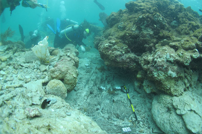 Maritime archaeologists investigating the wreck of Captain Kidd's ship