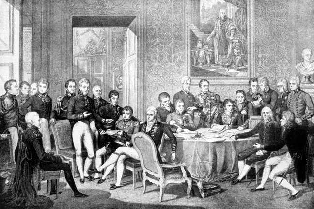 Engraving showing delegates at the Congress of Vienna