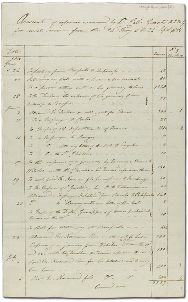 Secret Service accounts to September 1815