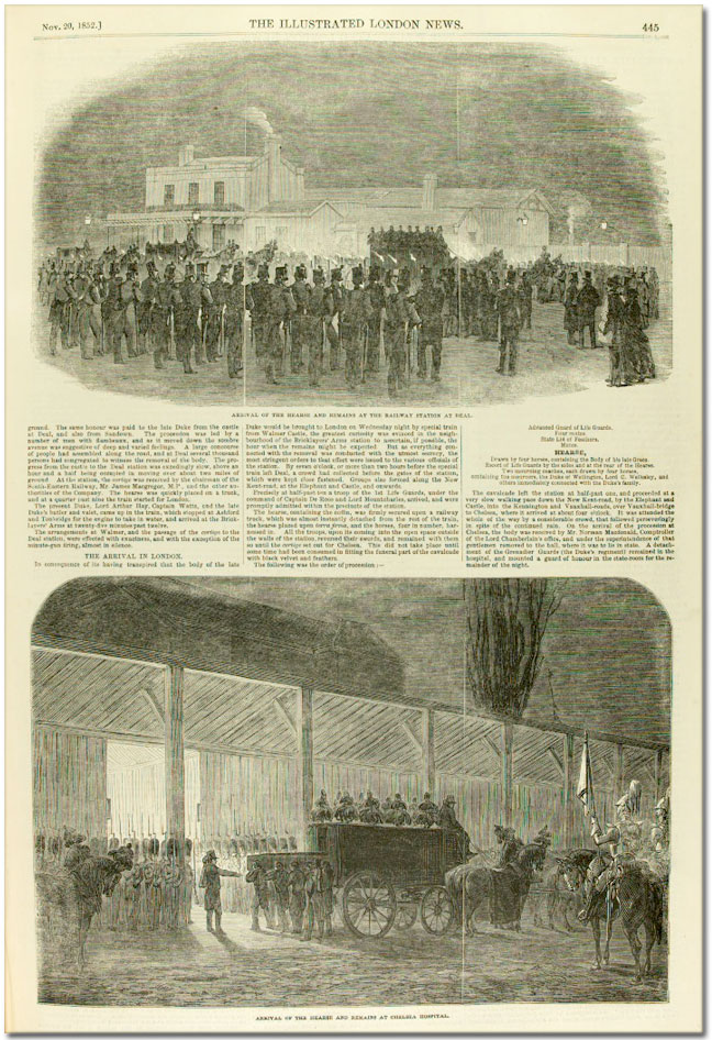 Page from Illustrated London News showing Wellington's coffin at Horse Guards