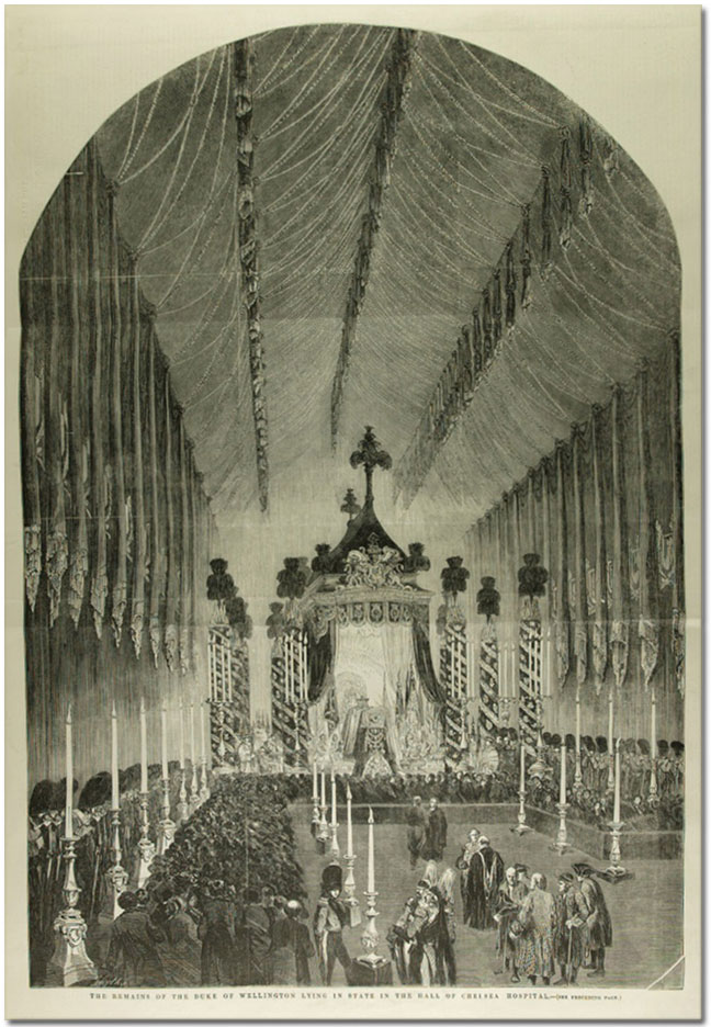 Page from Illustrated London News showing Wellington lying in state at Chelsea Hospital