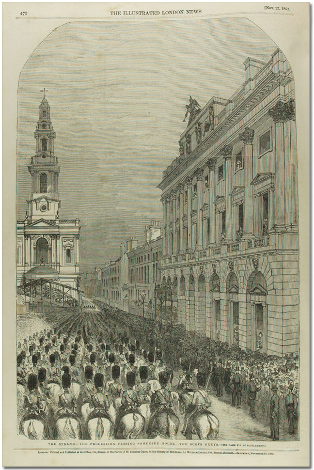 Page from Illustrated London News showing Wellington's funeral procession