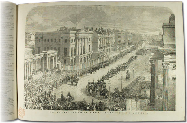 Page from Illustrated London News showing Wellington's funeral procession and the Royal Artillery passing Apsley House