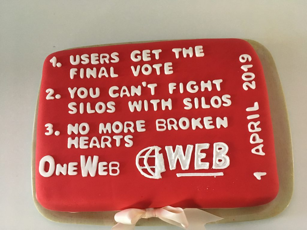 this is a cake we had when we launched OneWeb - 1 April 2019
