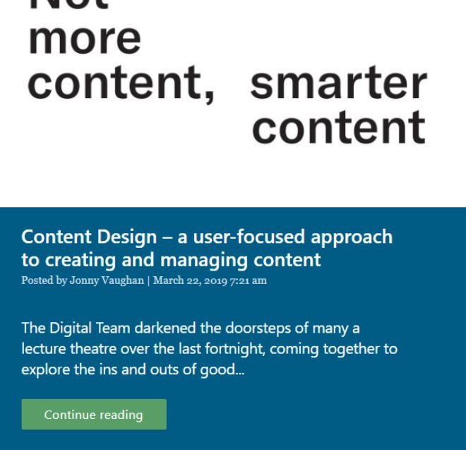 """Screenshot of my previous blog: 'Content Design - a user-focused approach to creating and managing content"""""""