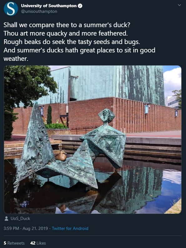 Tweet from the University of Southampton, featuring a Shakespearean poem about a duck.