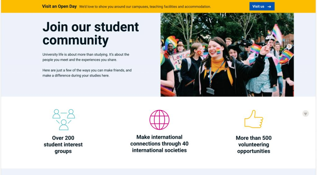 Design for new student community page.