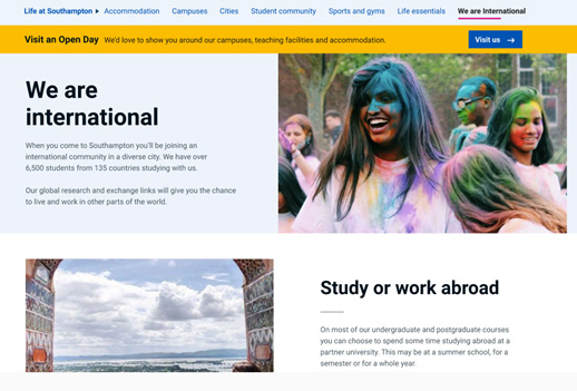 Screengrab of page design for new international content.