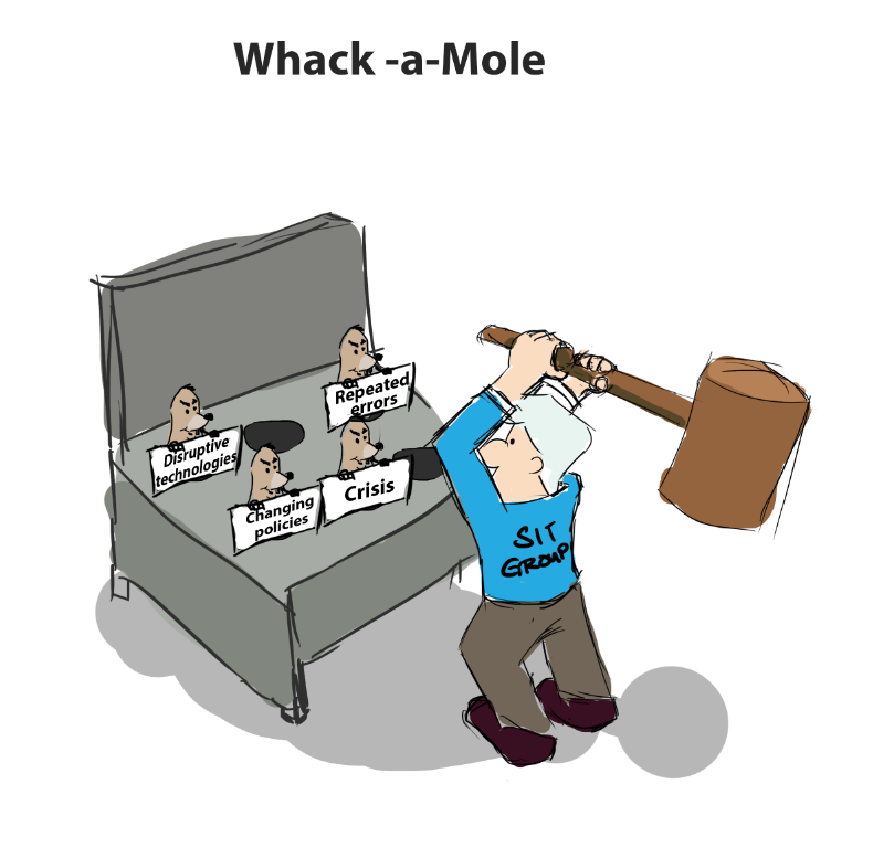 Cartoon of 'whack-a-mole' game