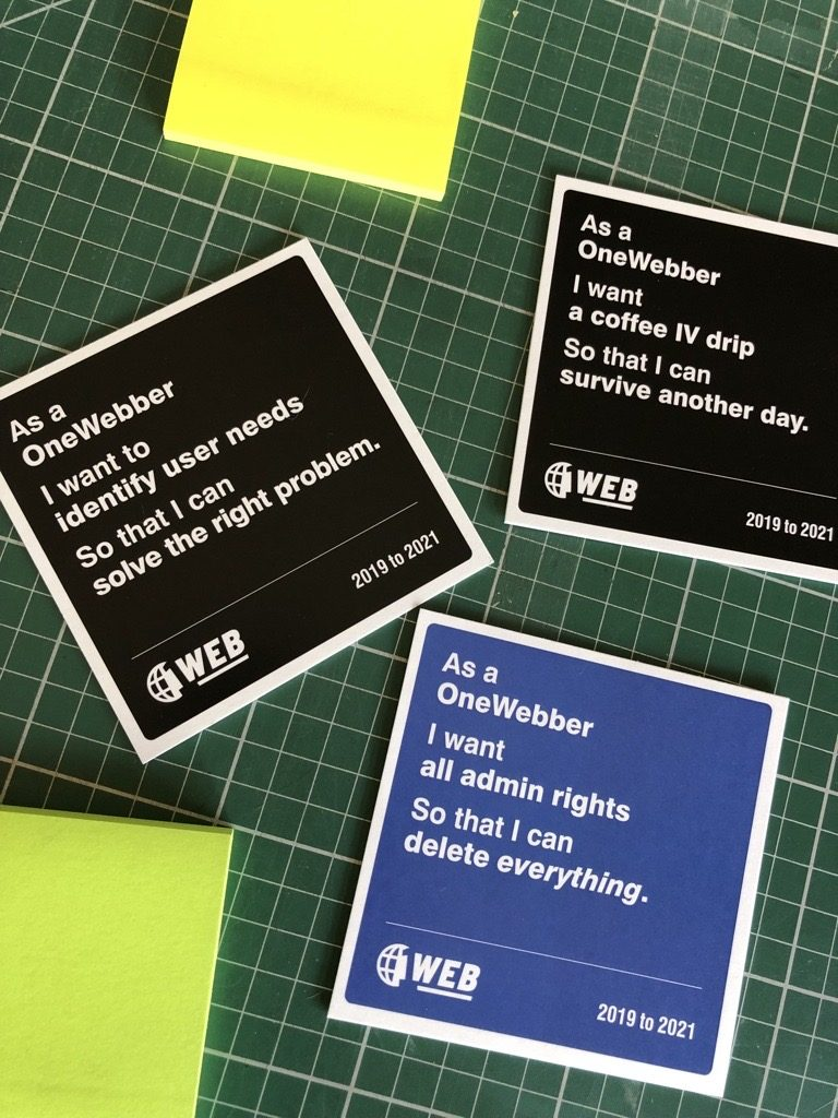OneWeb coasters of user stories