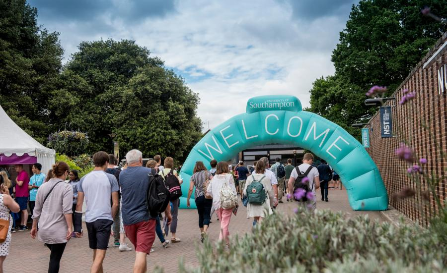 The Open Day Welcome arch at Highfield Campus