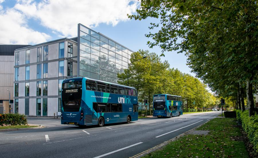 Unilink buses driving down University Road, Highfield Campus.