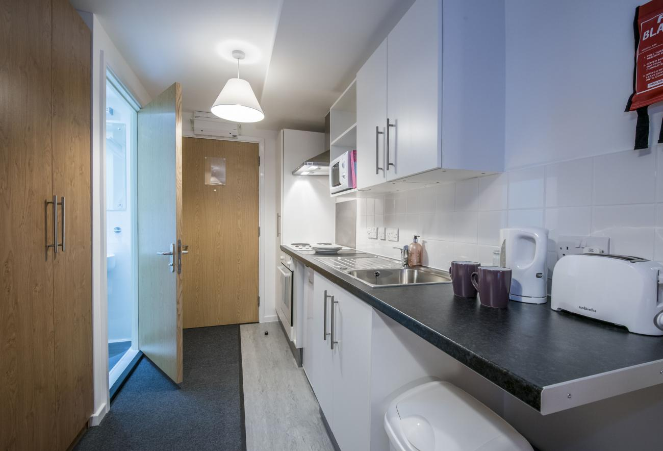 A modern studio flat showing kitchenette and entrance to bathroom.